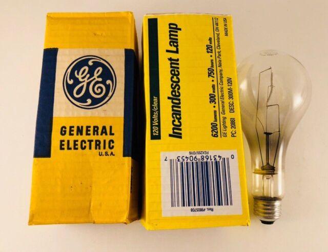 Ge 300 Watt Crystal Clear Light Bulbs