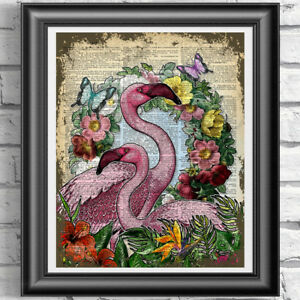 Vintage-Pink-Flamingo-Original-Dictionary-Print-Page-Wall-Art-Picture-Flowers