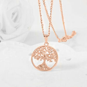 Tree-Of-Life-Pendant-Necklace-18K-Rose-Gold-Plated-with-18-034-Chain