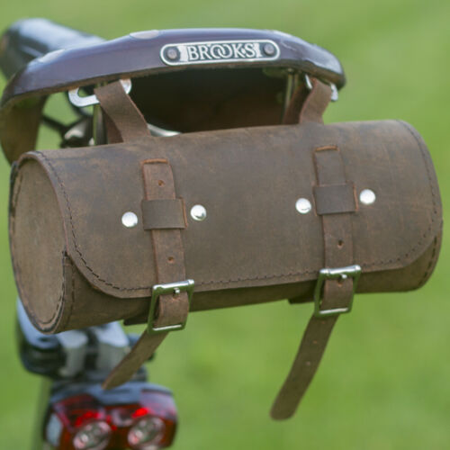 Roll Bicycle Saddle Bag Real Leather Handlebar Frame Seat Bag VINTAGE BROWN