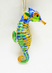 """Seahorse Ornament, Articulated Enameled Metal Sea Life Ornament, Gold Edged 4"""""""