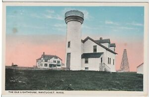 Nantucket-Mass-MA-THE-OLD-LIGHTHOUSE-Vintage-Postcard-Free-Shipping