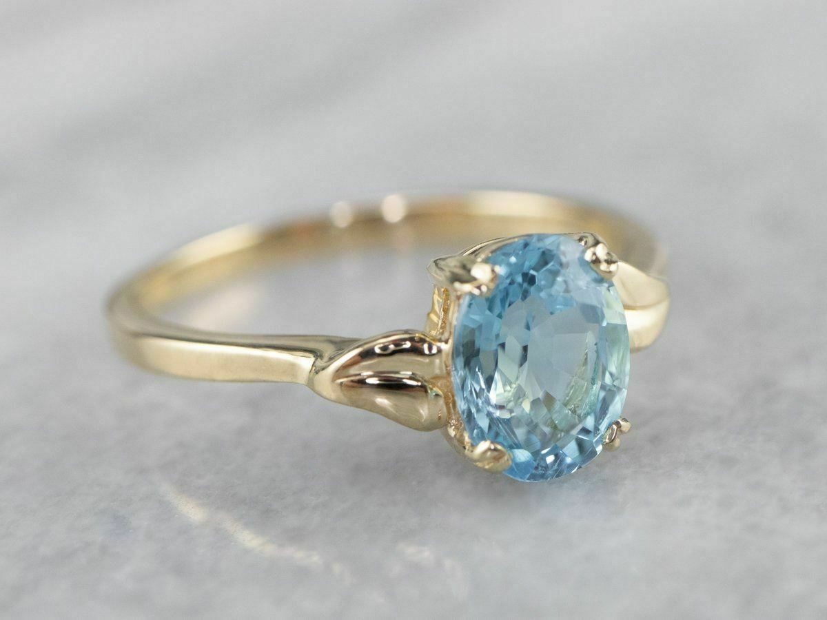 Blue Topaz Gold Solitaire Ring - image 2