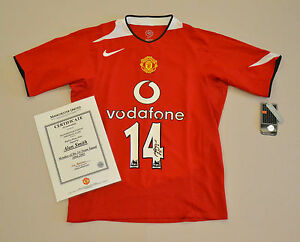 4590ec5ef Alan Smith Signed Manchester United 04/05 #14 Home Shirt Autograph ...