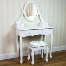 Nishano Dressing Table 5 Drawer Stool White Mirror Bedroom Makeup Desk Dresser