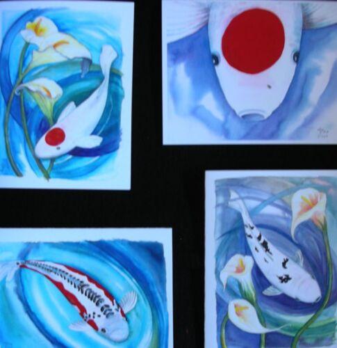 Art Note card set//4 paintings KOI IN BLUE WATER