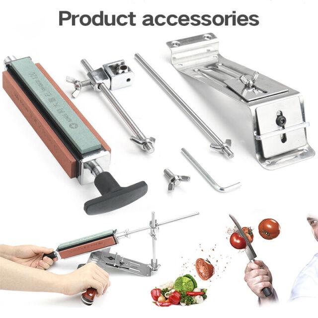 Professional Kitchen Knife Sharpener System Fix Angle Sharpening Frame 4 Stones