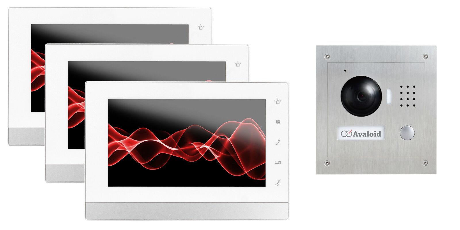 GOLIATH IP Video Türsprechanlage 3x Innenstation + Unterputz Außenstation, App