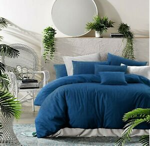 Cotton Textured Print Blue Doona Duvet Quilt Cover Queen With Pillowcases Set