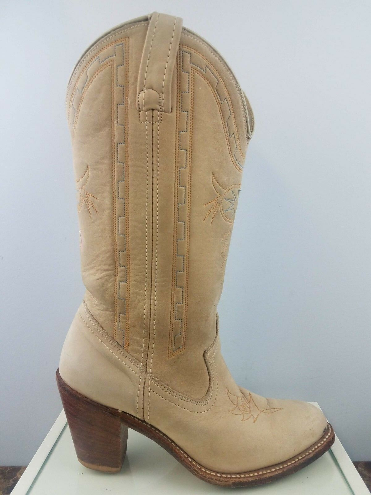 Acme Dingo Marrón Cuero tire Punta rojoonda Fileteado occidental botas de vaquero para mujer 6.5