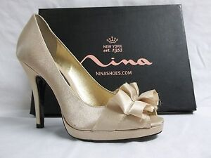 cedc3332cab Details about Nina Size 6.5 M Evelixa Gold Royal Satin Open Toe Heels New Womens  Shoes
