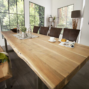 massiver esstisch mammut akazie massivholz verchromte kufenf e holztisch tisch ebay. Black Bedroom Furniture Sets. Home Design Ideas