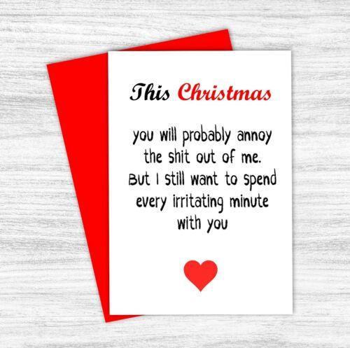 Funny Christmas Card Husband Boyfriend Fiance Wife Girlfriend Rude Joke