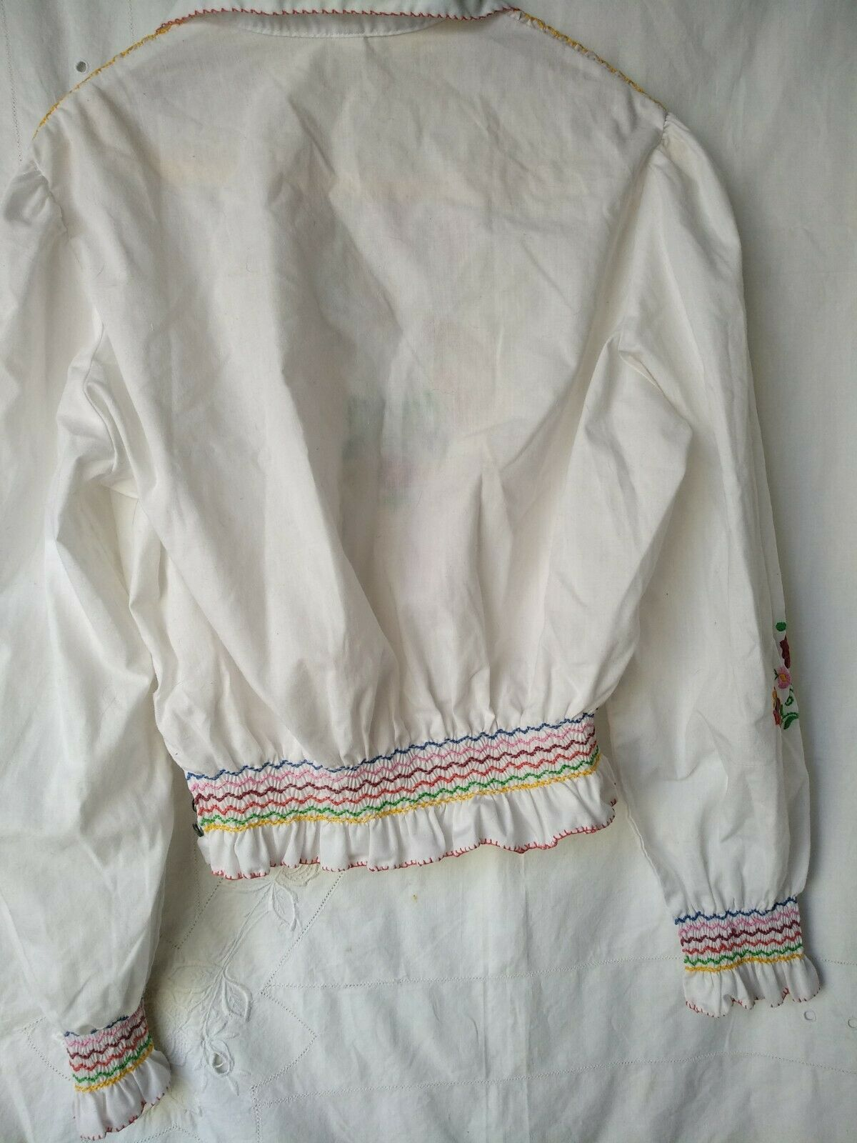 Vintage Ethnic Hungarian Hand Embroidered Floral … - image 7