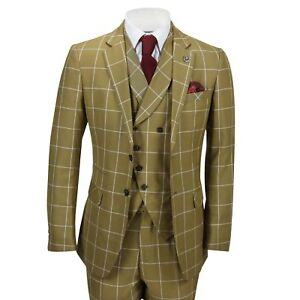 New-Mens-Classic-3-Piece-Suit-White-Bold-Check-on-Tan-Retro-Vintage-Tailored-Fit