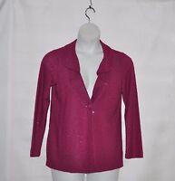 Joan Rivers Soft Knit Sequin Jacket Size S Fuchsia