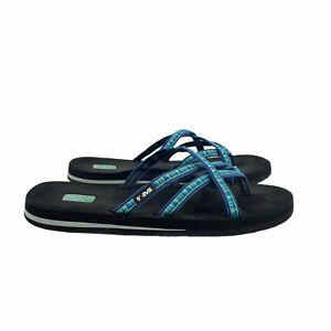 Teva Women's Strappy Slip On Flat Sandals 6840 Olowahu Blue Sz 11 Mush Slide