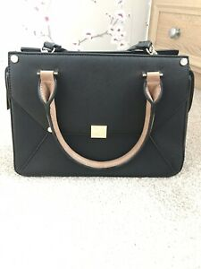 Dune-Black-Handbag-Ladies-Brown-Handles-Gold-Zip-Detachable-Strap