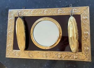 Antique-Cloakroom-Mirror-Hall-Clothes-Brushes-Brass-Edwardian-1920s-1910s-Old