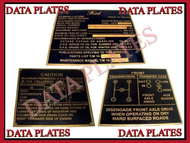 Jeep GPW Ford Early Production Brass Data Plate Set G503 WWII WW2 Nomenclature