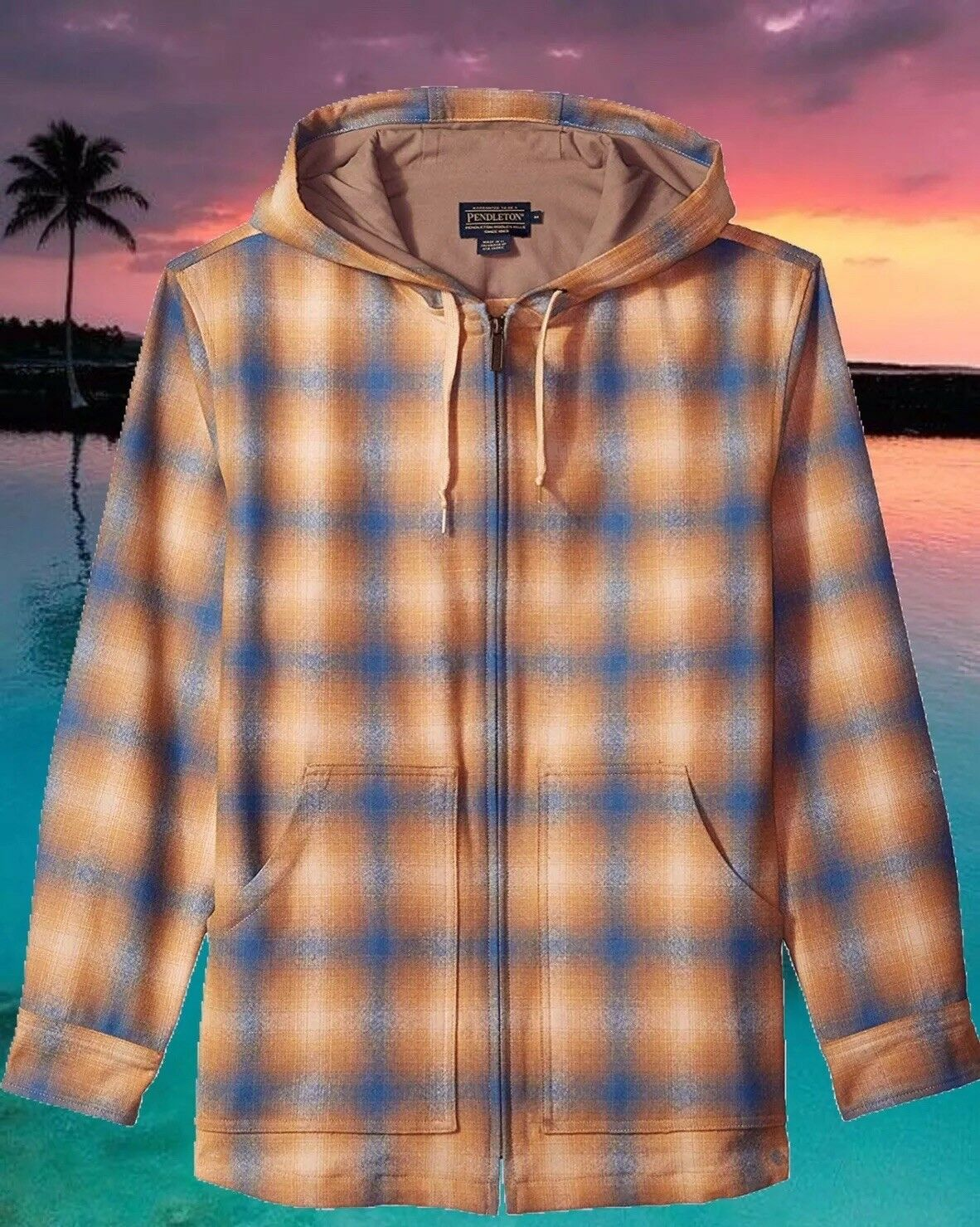 Pendleton Mens 3XL Lightweight Wool Hoodie bluee & Tan Ombre Nwt