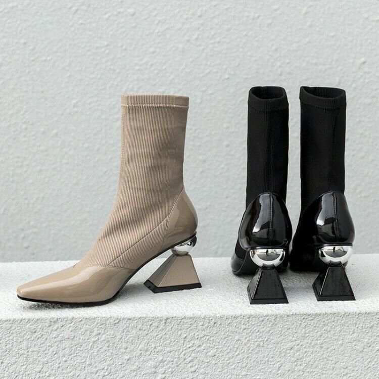 Fashion Runway Cuir Véritable Femme Métal Talon Haut Compensés à bout pointu Cheville Bottes Chaussures