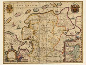 deutschland karte alt Alte Ostfriesland Deutschland Landkarte Visscher ca. 1690 Papier