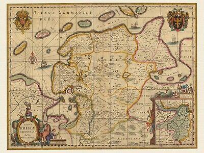Alte Ostfriesland Deutschland Landkarte Visscher Ca 1690 Papier