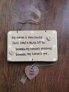 Nanny Grandad Grandparents Nana Nan Hanging Heart Gift PERSONALISED Shabby Chic