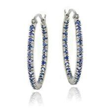925 Silver Inside Out Tanzanite CZ 22mm Oval Hoop Earrings