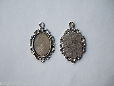 50 Antique Silver Tiny Oval 13x18mm Charm PENDANT TRAYS Bezel/Cabochon Setting