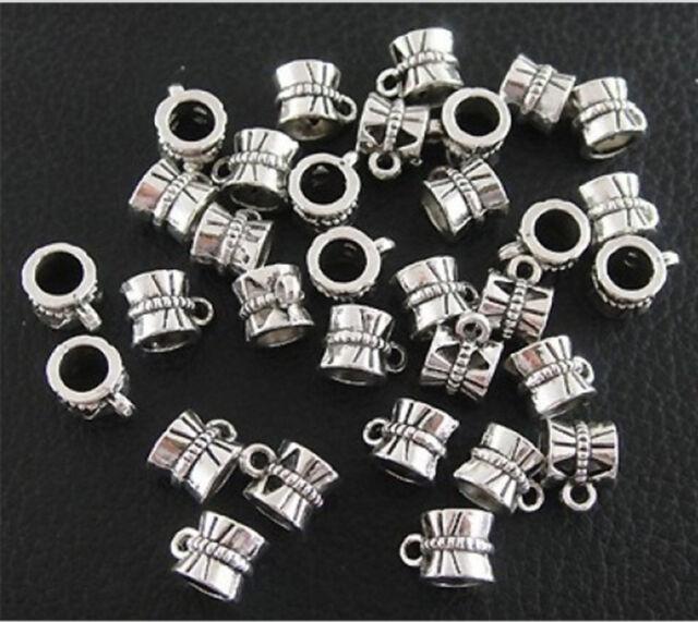 100pcs Tibetan Silver Connectors Bails fit charm European bead bracelet B173