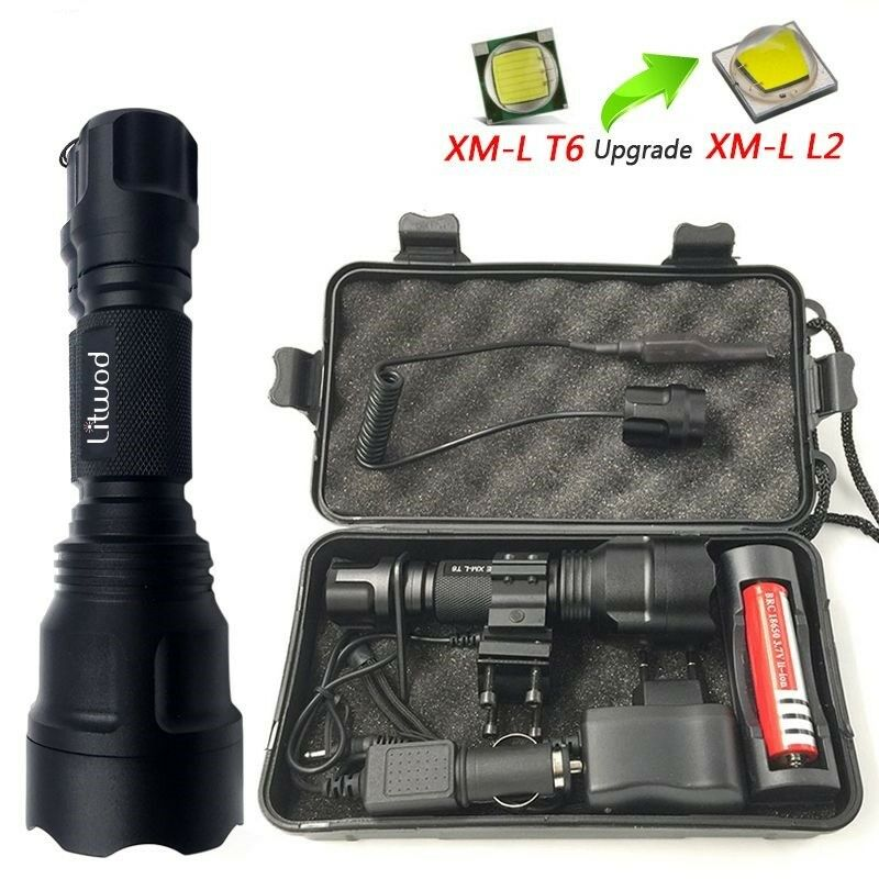Hunting Defense Flashlight High  Power Tactical Led L2 Self Torch Bike Light Lamp  the latest models