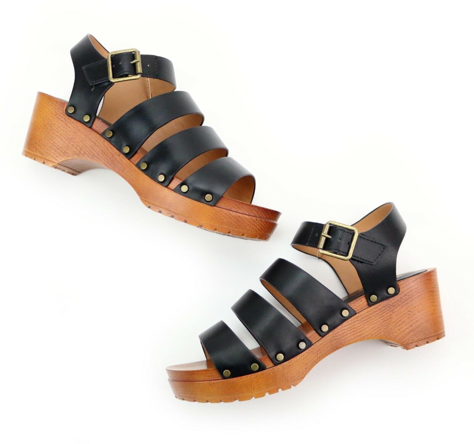 Qupid Keen Black Strappy Wood Studded 2 in Platform Sandals Heels Size 7 NEW