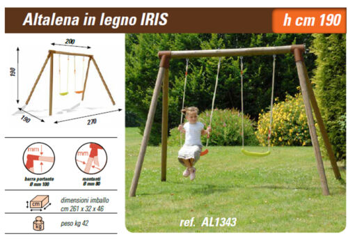 altalena in legno altezza 190 cm. per 2 bambini larghezza 270 cm. robusta sicura