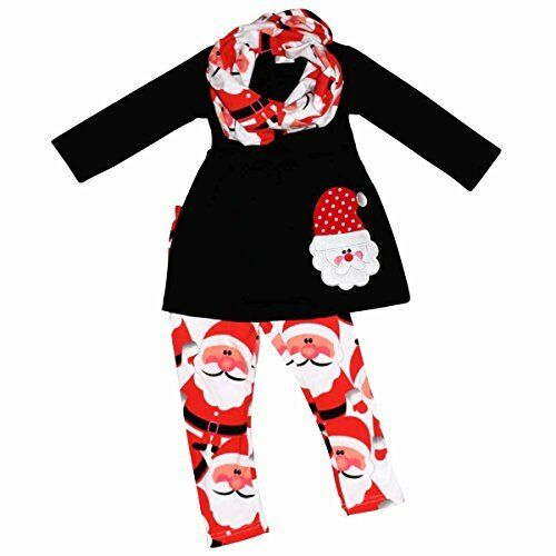 Girls Christmas Santa Claus Holiday Outfit Red Winter Fashion Leggings Scarf 2t