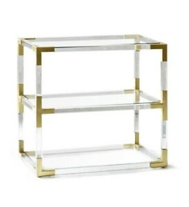 Jonathan Adler Jacques Acrylic And Brass 2-Tier Side End Table Nightstand | eBay