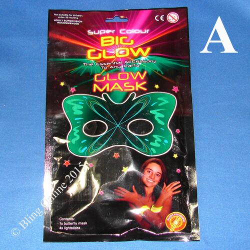 Lueur dans l/'obscurité Lumière Masque Mascarade Partie bâton Balle Vénitien eye robe fantaisie
