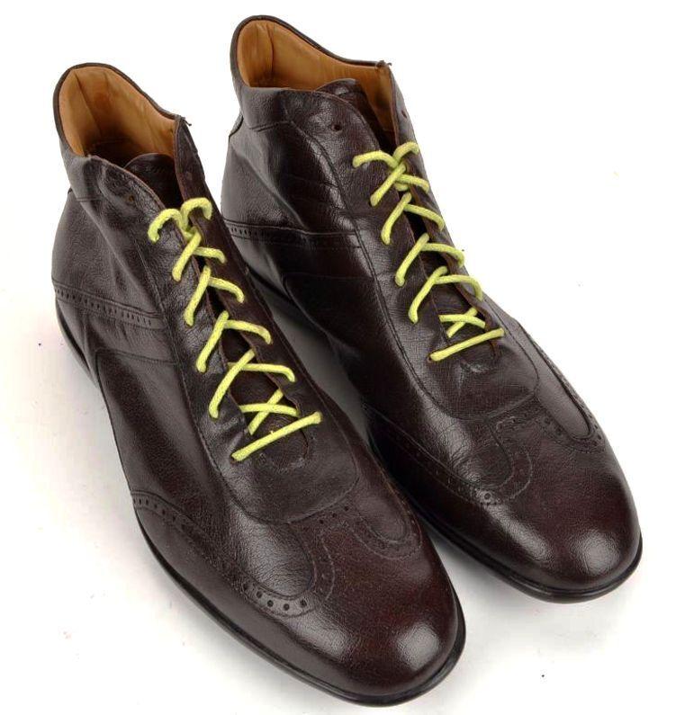 Zalin sólido Marrón Cuero Zapatos botas al Tobillo Para Hombre De Lujo- US 10.5