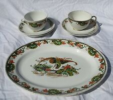Wood & Son China Burslem England Oriental Platter Tea Cups Phoenix Bird Lotus