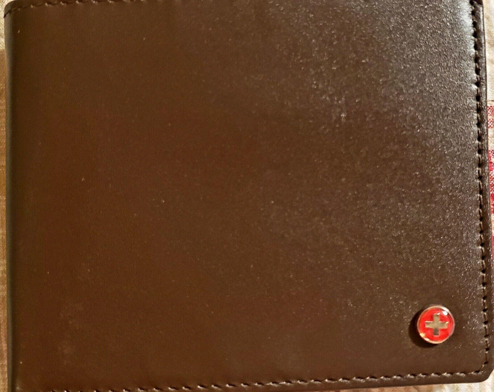 Alpine Swiss Light Brown Mens Wallet Leather Brand New No Box.
