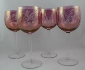 Vintage-Set-of-4-Cranberry-Glass-Wine-Glasses-Stems-Stemware-with-Etched-Flowers