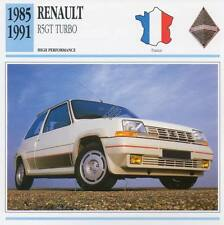 1985-1991 RENAULT R5GT TURBO Classic Car Photo/Info Maxi Card