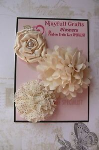 HANDMADE-3-Mixed-Flowers-CREAM-Satin-Organza-Fabric-50-60-amp-70mm-NjoyfullCr-H6