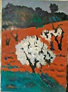 BEPPE-GUZZI-dipinto-olio-tela-vintage-Paesaggio-con-alberi-bianchi-034-PRIMAVERA-034