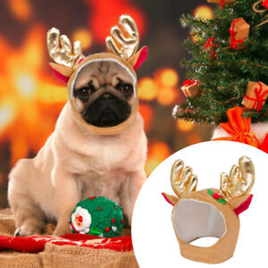 Christmas Hats For Dogs.Details About Christmas Elk Hats For Dogs Antler Reindeer Pet Cap Party Cute Costume Headwear