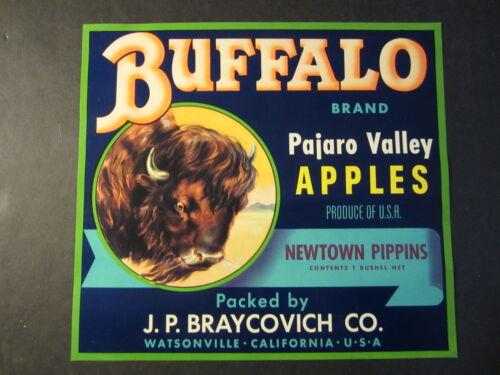 Apple Crate LABEL Original Old Western Theme Watsonville CA. BUFFALO