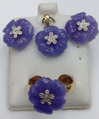 14k Solid Yellow Gold Lavender Jade And Diamond Ring Earring Pendant Set. D.04ct