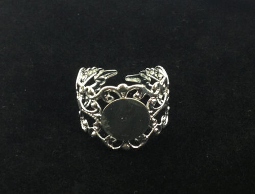 20PCS Silver Plated Adjustable Filigree Ring Blanks 18mm #22807