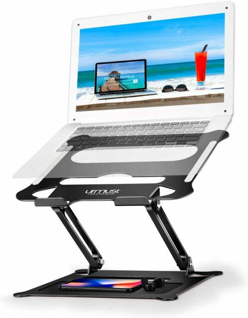 Folding Table LHA Adjustable Laptop Stand Laptop Tray Table with Mouse Pad Laptop Table Wood Color